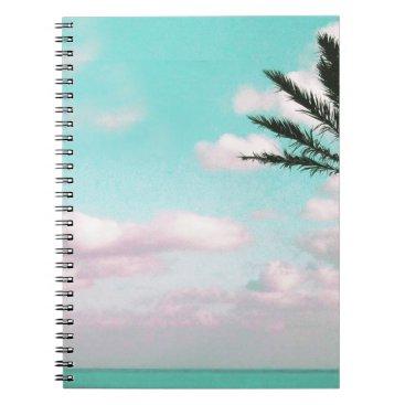 Beach Themed Tropical Beach, Ocean View, Pink Clouds, Palm Spiral Notebook