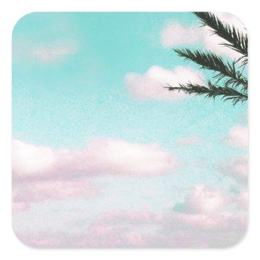 Beach Themed Tropical Beach, Ocean View, Pink Clouds, Palm Square Sticker