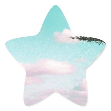 Beach Themed Tropical Beach, Ocean View, Pink Clouds, Palm Star Sticker