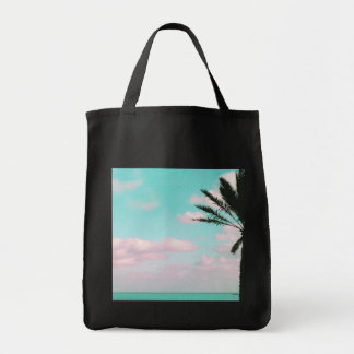 Tropical Beach, Ocean View, Pink Clouds, Palm Tote Bag