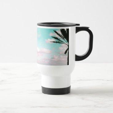 Beach Themed Tropical Beach, Ocean View, Pink Clouds, Palm Travel Mug