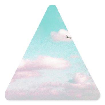 Beach Themed Tropical Beach, Ocean View, Pink Clouds, Palm Triangle Sticker