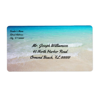 Tropical Beach Ocean Water Shipping Label
