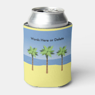 Tropical Beach Ocean Waves and Palm Trees Custom Can Cooler