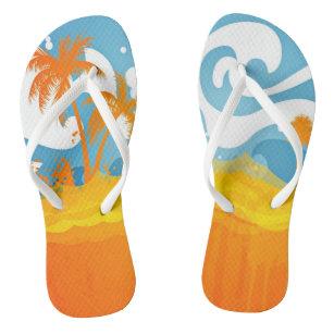 42695df2e Tropical Beach Ocean Waves Palms Abstract Flip Flops