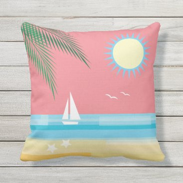 Beach Themed Tropical Beach on Coral Sky - Outdoor Outdoor Pillow