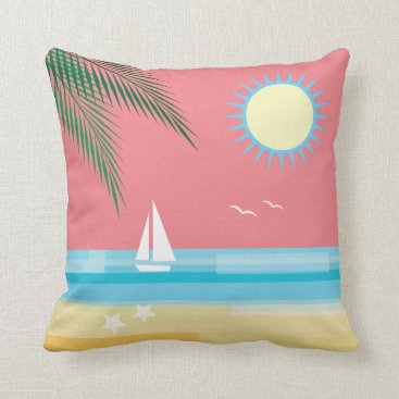 Beach Themed Tropical Beach on Coral Sky Throw Pillow