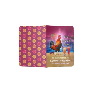 Tropical Beach or Cruise Vacation | Funny Rooster Passport Holder