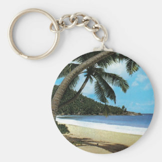 Tropical beach painting basic round button keychain