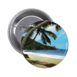 Tropical beach painting pinback button