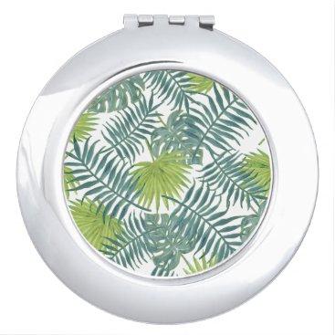 Beach Themed Tropical Beach Palm Leaves Art Graphic Compact Mirror