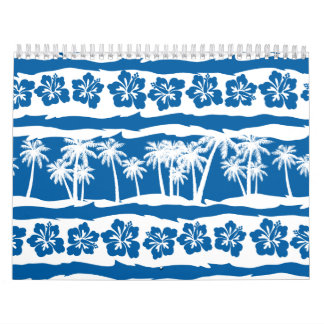 Tropical beach palm stripes calendar