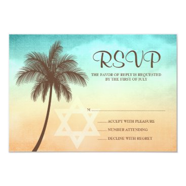 printcreekstudio Tropical Beach Palm Tree Bat Mitzvah Response Card