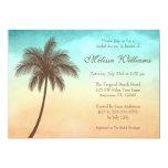Tropical Beach Palm Tree Bridal Shower 5x7 Paper Invitation Card