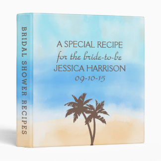 Tropical Beach Palm Tree Bridal Shower Recipe 3 Ring Binder