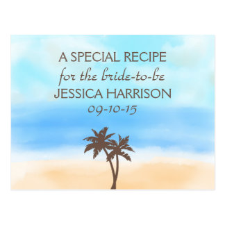 Tropical Beach Palm Tree Bridal Shower Recipe Card