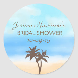 Tropical Beach Palm Tree Bridal Shower Stickers