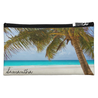 Tropical Beach Palm Tree Custom Name Makeup Bag