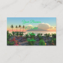 Tropical Beach Palm Tree Island Sunset Paradise Business Card