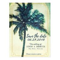 Tropical Beach Palm Tree Key West Save the Date Postcard
