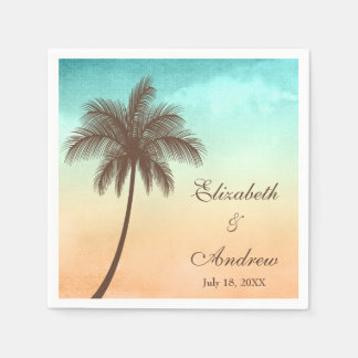 Tropical Beach Palm Tree Personalized Wedding Napkin