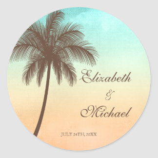 Tropical Beach Palm Tree Round Wedding Favor Label