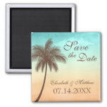 Tropical Beach Palm Tree Save the Date Fridge Magnet