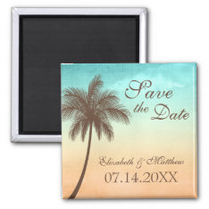Tropical Beach Palm Tree Save The Date Magnet at Zazzle
