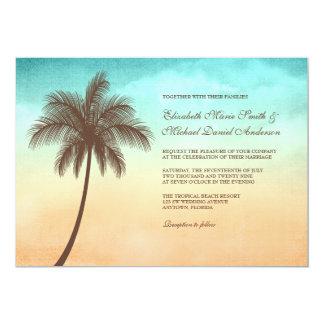 "Tropical Beach Palm Tree Wedding Invitations 5"" X 7"" Invitation Card"