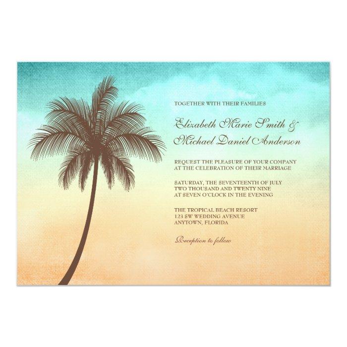 Tropical Beach Palm Tree Wedding Invitations
