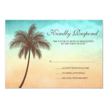 printcreekstudio Tropical Beach Palm Tree Wedding Response Card