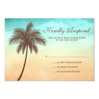 "Tropical Beach Palm Tree Wedding Response Card 3.5"" X 5"" Invitation Card"