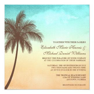 "Tropical Beach Palm Tree Wedding Square 5.25"" Square Invitation Card"