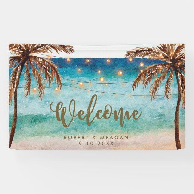 tropical beach palm trees wedding welcome banner
