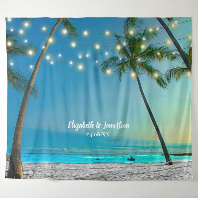 Tropical Beach Palm Wedding Photo Booth Backdrop