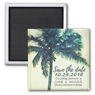 Tropical Beach Palm Wedding Save the Date Magnets