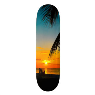 Tropical Beach Palms Colorful SUNSET Skateboard