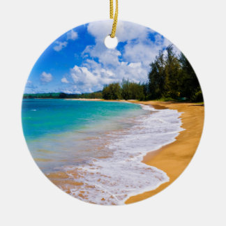 Tropical beach paradise, Hawaii Ceramic Ornament