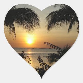 Tropical Beach Paradise Heart Sticker