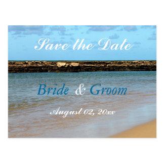 Tropical Beach Paradise Save the Date Wedding Postcard