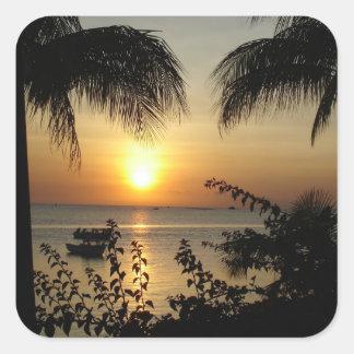 Tropical Beach Paradise Square Sticker