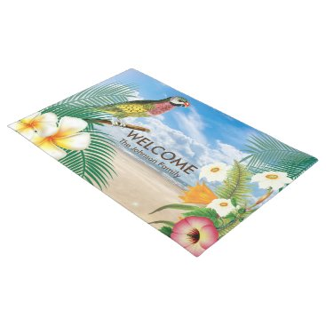 Beach Themed Tropical Beach Parakeet Bird Doormat