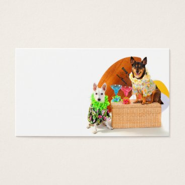 Beach Themed Tropical  Beach Party Dogs in Hawaiian BeachGear Business Card