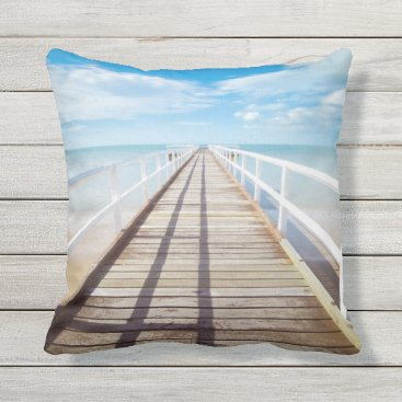 Tropical Beach Pier Outdoor Throw Pillow
