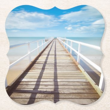 Tropical Beach Pier Paper Coaster