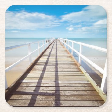 Tropical Beach Pier Square Paper Coaster