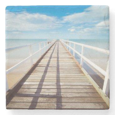 Beach Themed Tropical Beach Pier Stone Coaster
