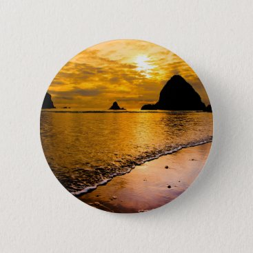 tropical beach pinback button