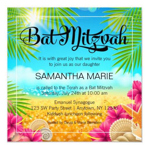 Tropical Beach Pink Hibiscus Bat Mitzvah Card