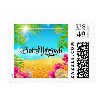 Tropical Beach Pink Hibiscus Bat Mitzvah Postage